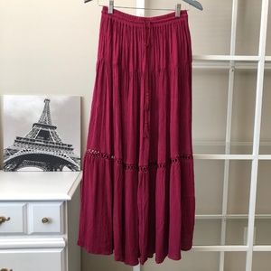 GAP red bohemian chic boho gypsy maxi skirt